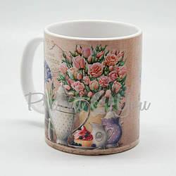 Кружка керамическая «Цветы», h-9,5 см, 350 мл (263-2204)