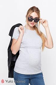 Футболка для беременных и кормящих мам MARGO NR-10.014 серая
