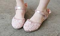 Туфли  нарядные детские  на девочку с бантиком розовые 21-29 р.