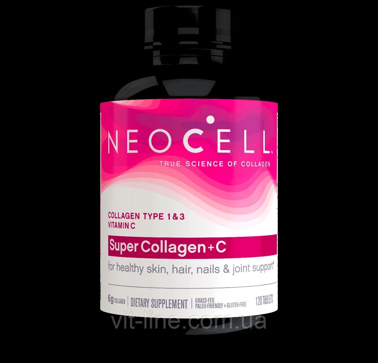 Neocell, Коллаген+C, Тип 1 и 3, 6,000 мг, 120 таблеток