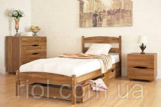 Односпальне ліжко з бука Ліка без ізножья з ящиками ТМ Олімп
