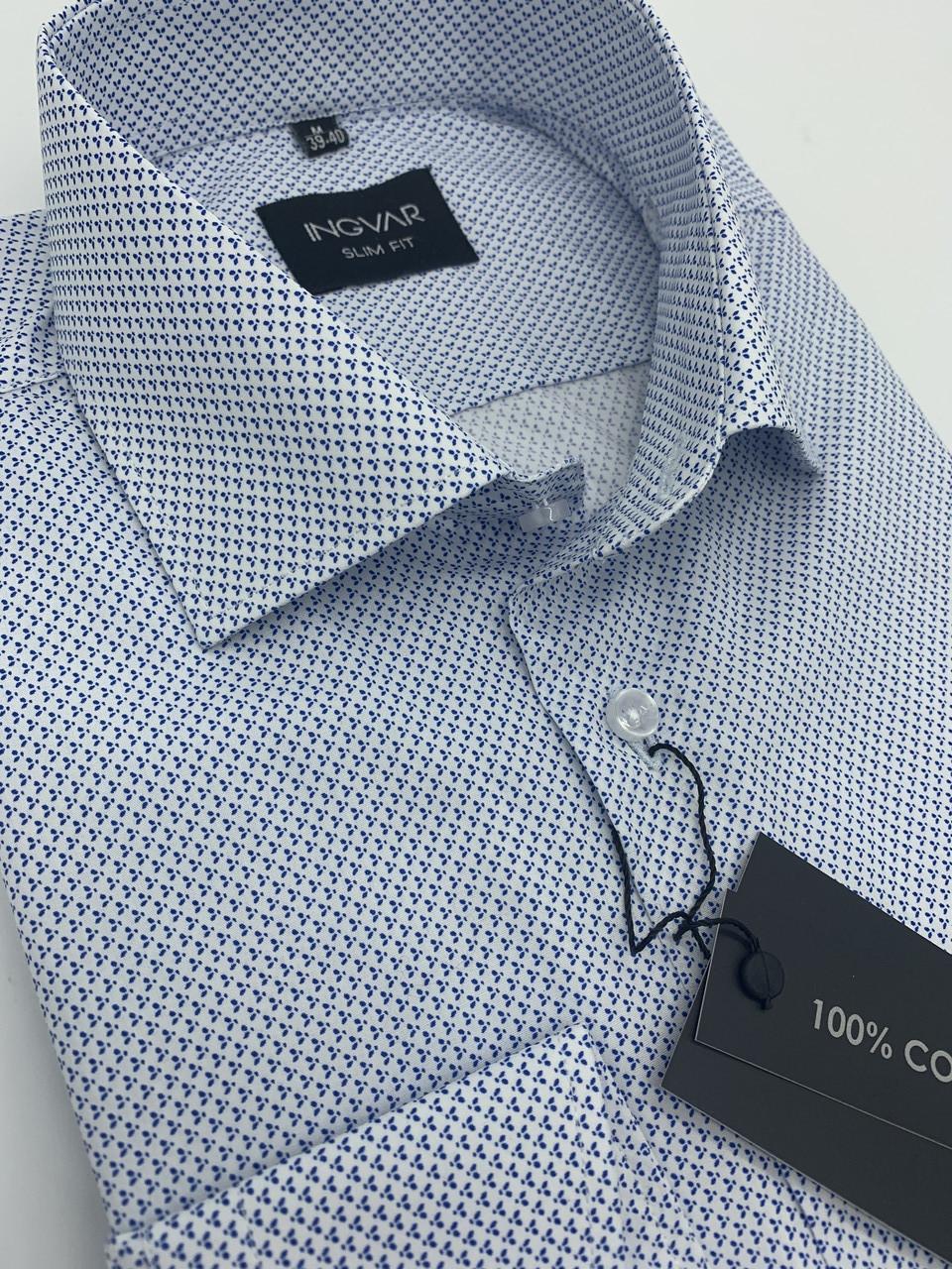 Рубашка мужская белая с принтом хлопковая INGVAR
