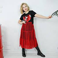 Платье черное с итальянской сеткой принт сердце на девочку-подростка рост 134-176