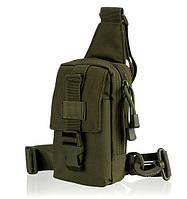 Тактическая EDC сумка однолямочная. Цвета: олива, койот, чёрный, фото 1