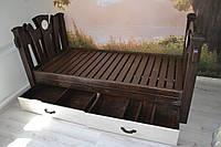 Односпальная кровать деревянная с выдвижными ящиками для хранения