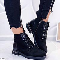 Женские осенние ботинки черные эко замша, фото 1