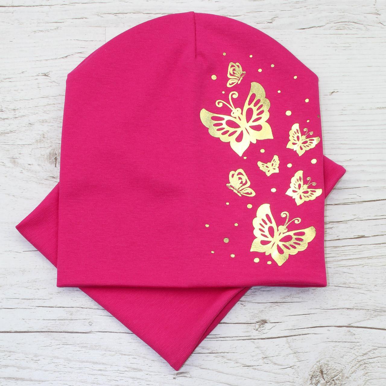 Весенняя детская трикотажная шапка комплект малина 52-56р.