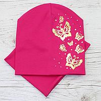 Модная Бабочки золото Комплект шапка + снуд малина 52-56р.