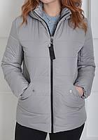 Стильная молодежная женская короткая стеганная серая куртка с капюшоном 46-56 размеры в наличии