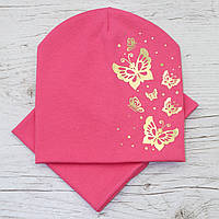 Стильная Бабочки золото Комплект шапка и хомут корал 52-56р.