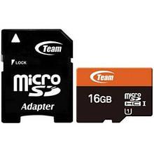 Карта памяти MicroSDHC 16GB UHS-I Class 10 Team + Adapter SD (TUSDH16GUHS03)