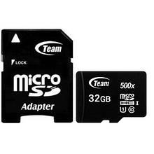 Карта памяти MicroSDHC 32GB UHS-I Class 10 Team Black + Adapter SD (TUSDH32GCL10U03)