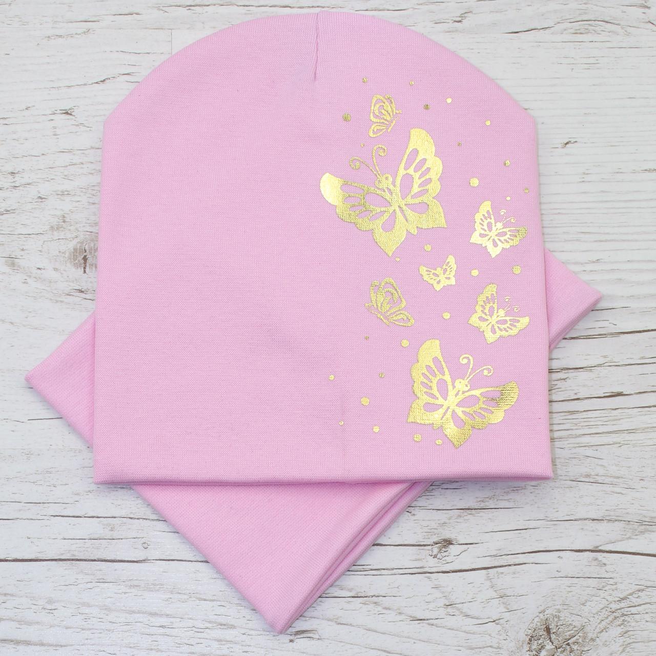 Детская трикотажная шапка комплект св.розовый 52-56р.