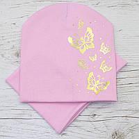 Для девочки Бабочки золото Комплект шапка и баф св.розовый 52-56р.