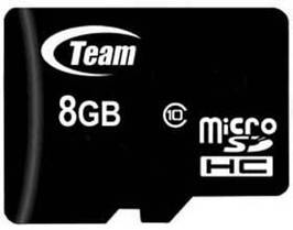 Карта памяти MicroSDHC 8GB Class 10 Team + Adapter SD (TUSDH8GCL1003)