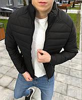 Куртка мужская демисезонная осенняя весенняя утепленная черная без логотипа, фото 1