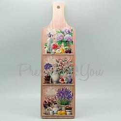 Доска длинная с ручкой для нарезки сувенирная 'Прованс. Цветы' (263-8203)