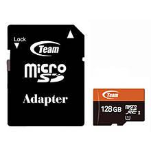 Карта памяти MicroSDXC 128GB UHS-I Class 10 Team + Adapter SD (TUSDX128GUHS03)