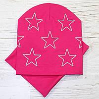 Детская трикотажная шапка комплект малина 52-56р.