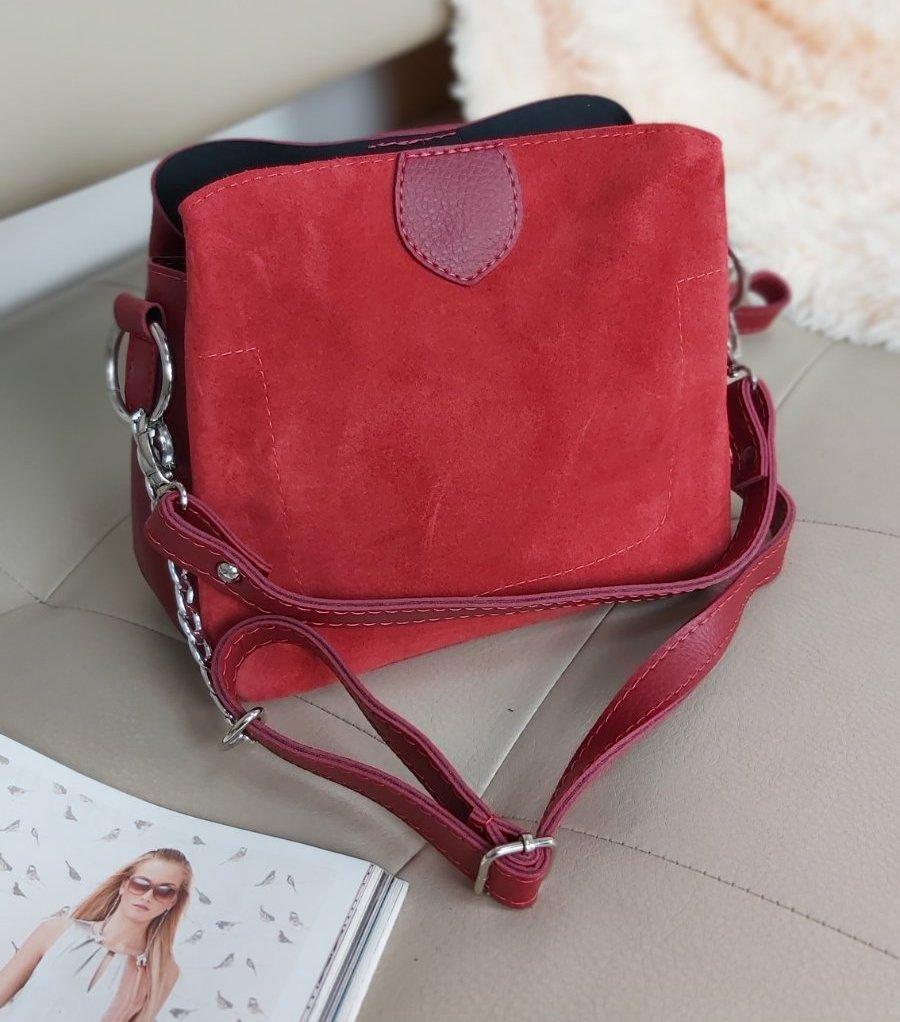 Женская комбинированная сумка кросс-боди с плечевым ремнем 20*23*10 см