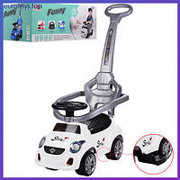 Машинка-толокар  Bambi  FD-6812-1 белая Машинка-толокар з ручкою біла Бемби