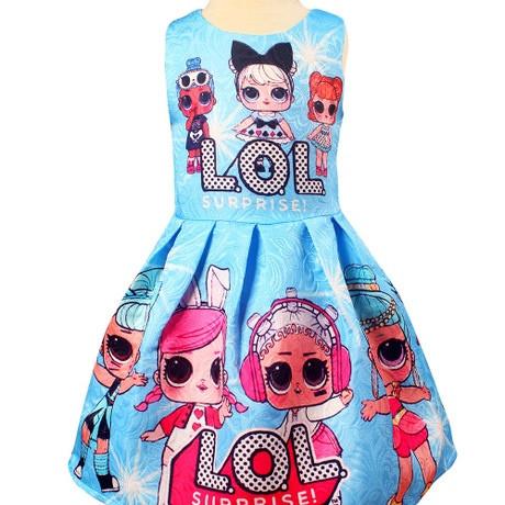 Платье детское на девочку ЛОЛ  голубое на 4 года