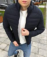 Куртка мужская демисезонная осенняя весенняя утепленная синяя без логотипа, фото 1