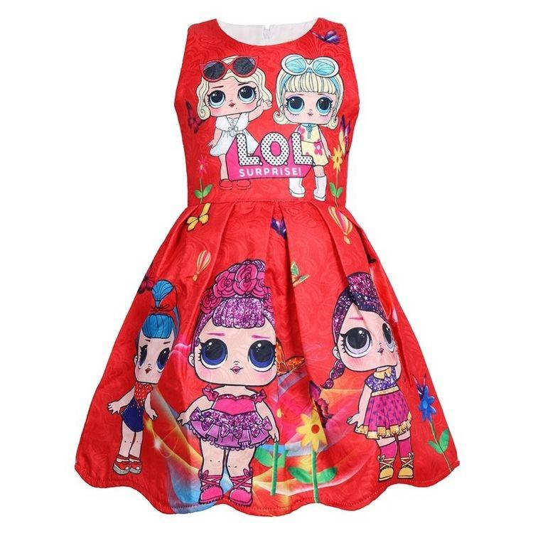 Платье детское на девочку ЛОЛ  голубое на 3 года красное