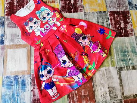 Платье детское на девочку ЛОЛ  голубое на 3 года красное, фото 2