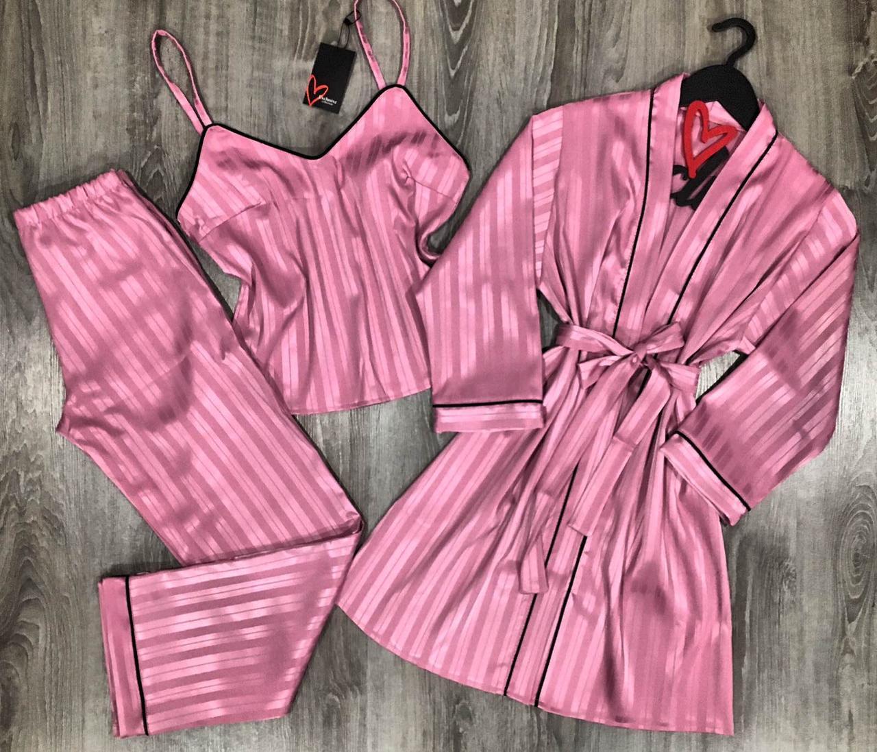 Молодежный комплект тройка халат и пижама( майка+штаны) в полоску.