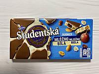 Шоколад бело-молочный Studentska c арахисом и изюмом Чехия 180 гр.