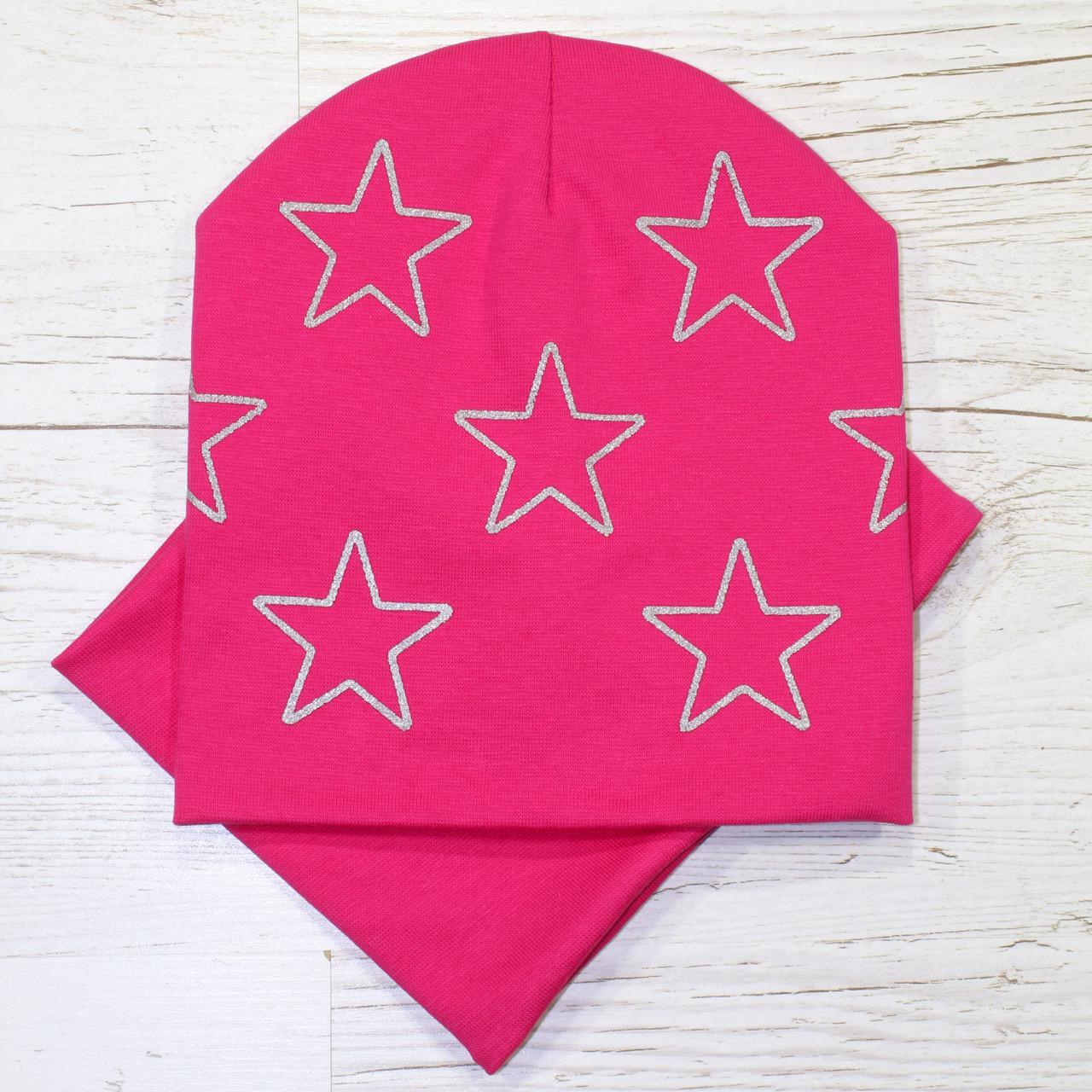 Модная Звезды серебро Комплект шапка + баф малина 48-52р.