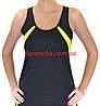 Майка женская без рукавов для фитнеса, для спорта, для йоги с желтыми вставками и сеткой на спинке, фото 2