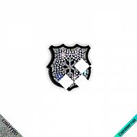 Термонашивки для бизнеса на слипоны,сникерсы термо Герб со снежинкой (ss6 кристалл)