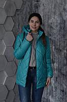 Модная молодежна удлиненная демисезонная куртка с капюшоном мятного цвета 44-54 размеры