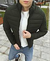 Куртка мужская демисезонная осенняя весенняя утепленная оливковая без логотипа