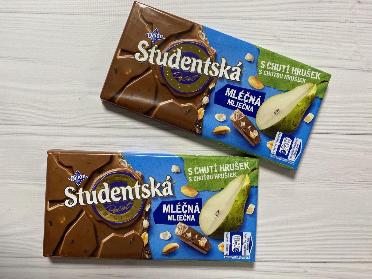 Шоколад молочный Studentska с грушей и арахисом. Чехия 180г