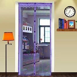 "Антимоскитная магнитная шторка""Magic Mesh""сетка на дверь, аналог штора,220х100 ФИОЛЕТОВАЯ"
