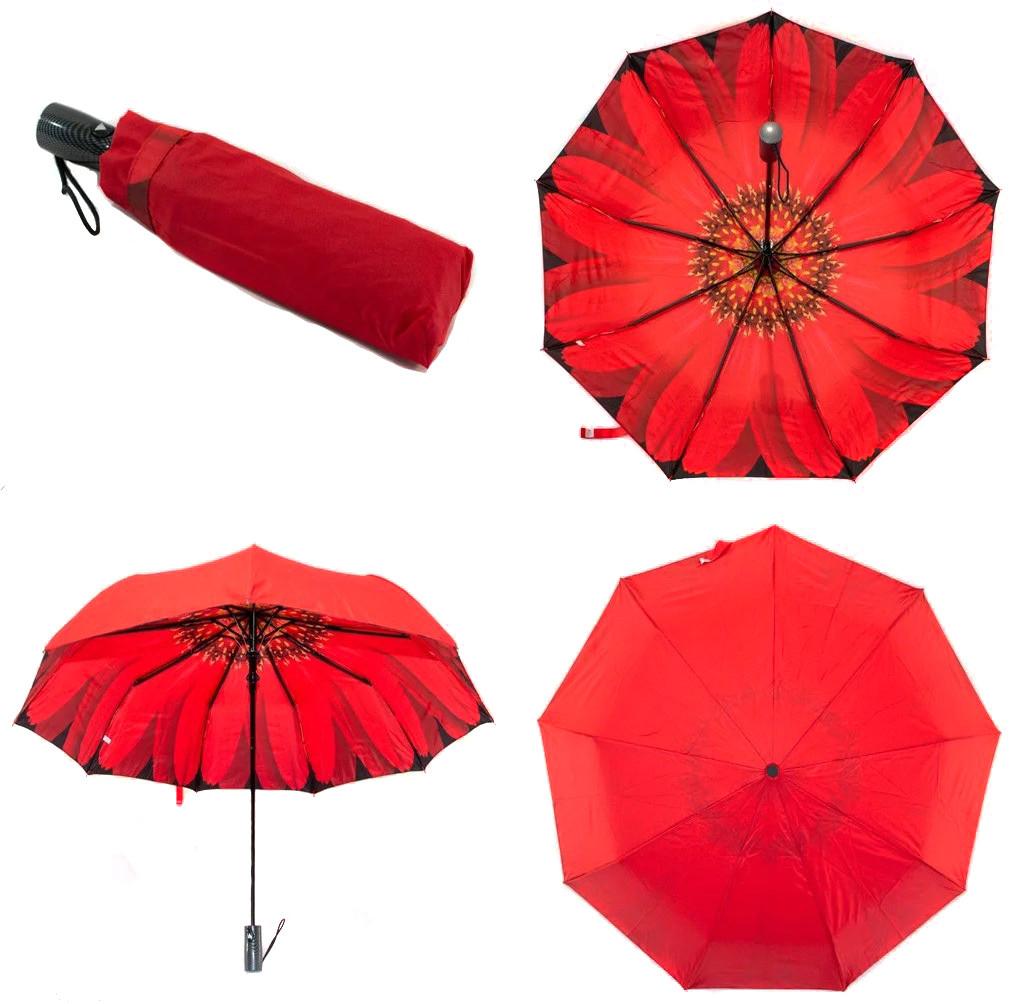 Зонт женский полуавтомат с куполом 98 см Mario с двойной тканью и цветком изнутри. Анти-ветер, 9 спиц.