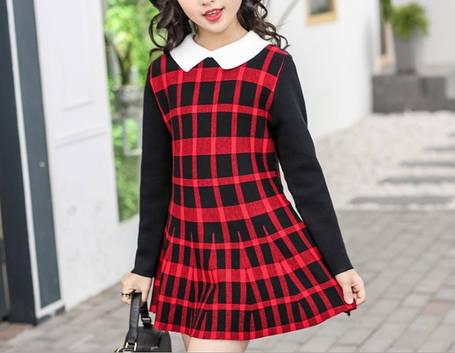Повседневное  платье на девочку длинный рукав  4-8 лет красное клетка, фото 2