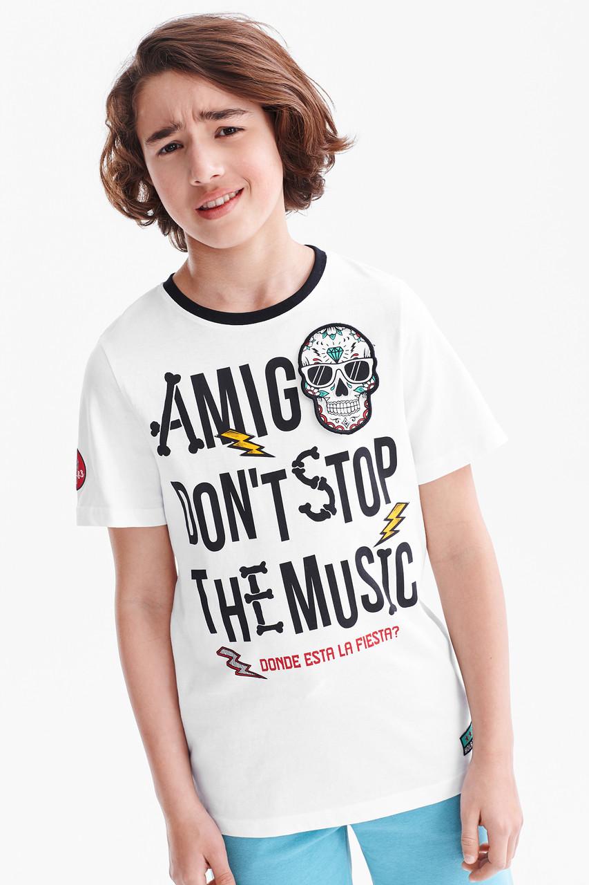 Белая подростковая футболка для мальчика C&A Германия Размер 146-152
