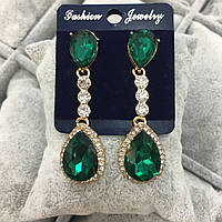 Серьги капли с зелеными камнями, бижутерия, вечерняя бижутерия