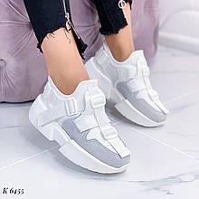 Кроссовки женские белые с серым эко- замш + текстиль