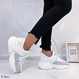 Кроссовки женские белые с серым эко- замш + текстиль, фото 4
