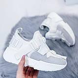 Кроссовки женские белые с серым эко- замш + текстиль, фото 8