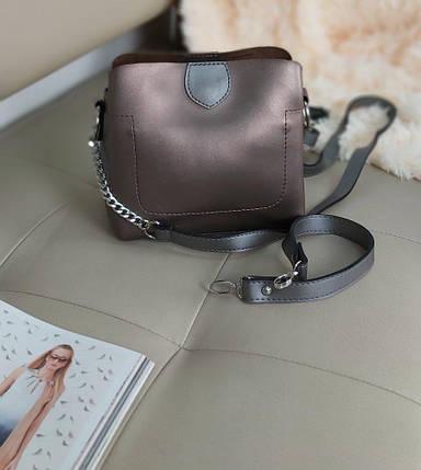 Женская сумка кросс-боди двухцветная 20*23*10 см, фото 2