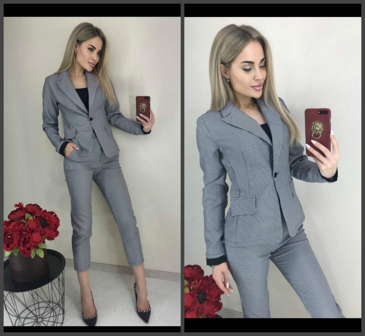 Костюм брючный женский, пиджак и укороченные брюки, клетка, офисный, повседневный, модный, ремень в комплекте