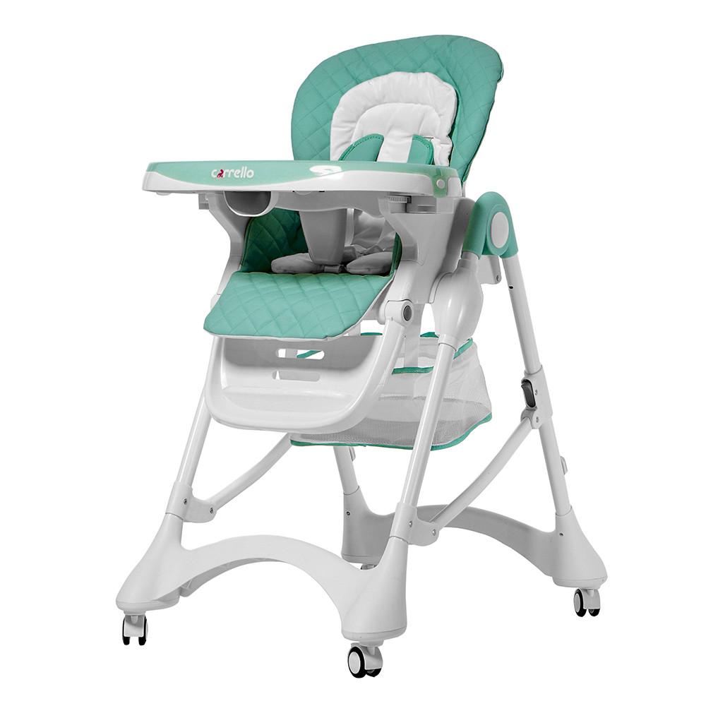 Детский стульчик для кормления CARRELLO Caramel / Green / Aqua Green