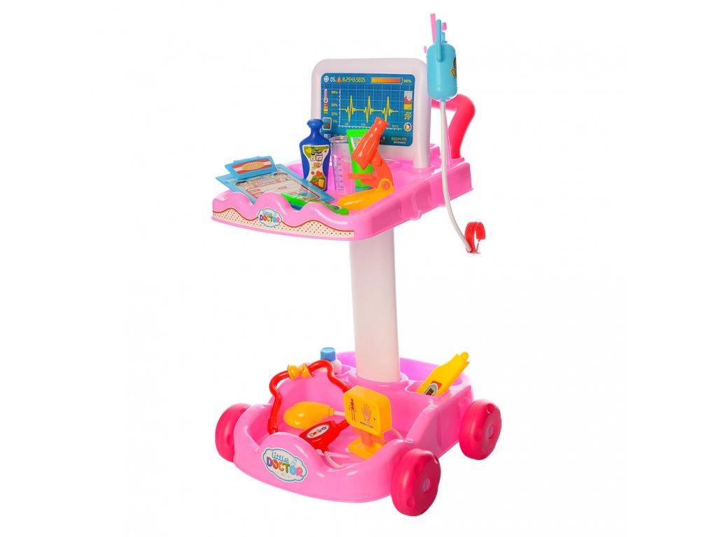Игровой набор-тележка Умелый доктор 606-1-5  тележка, инструменты, микроскоп, очки розовый