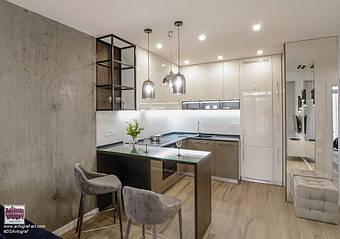 "ЖК ""Central park"" - modern apartment with loft elements.  Loft Delicate Tiny Apartment by #DSAvtograf. Modern living room using Urban Indastrial Decor. Modern light. Wooden floor.   #dsavtograf #kyivdesign #design #interior #interiordesign #loft #u"